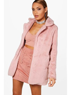 BOOHOO Emmy Faux Fur Collared Coat