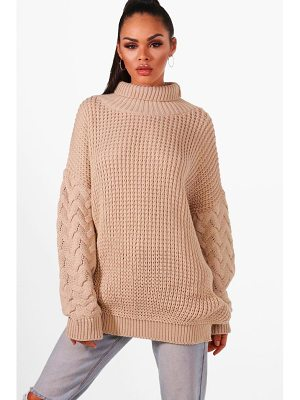 BOOHOO Emmy Oversized Roll Neck Cable Sleeve Knitted Jumper