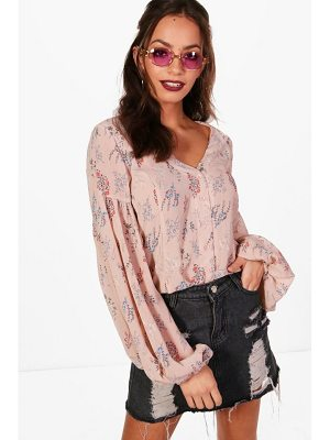 Boohoo Floral Balloon Sleeve Blouse