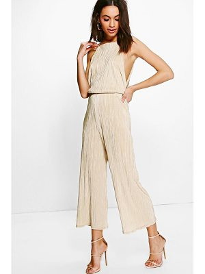 Boohoo Plisse Drop Arm Culotte Jumpsuit