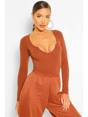 Boohoo Extreme Scoop Notch Knitted Rib One Piece