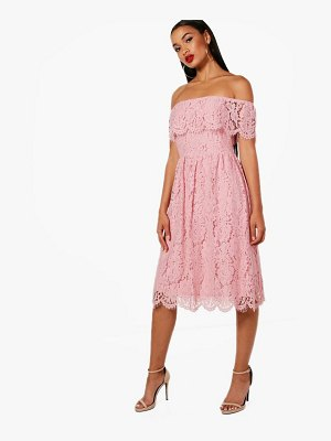 Boohoo Eyelash Lace off The Shoulder Skater Dress
