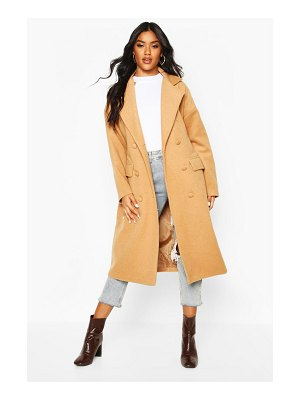 Boohoo Fabric Covered Buttoned Wool Look Coat