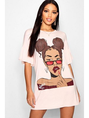 Boohoo Face Motif Flared Sleeve T-Shirt Dress