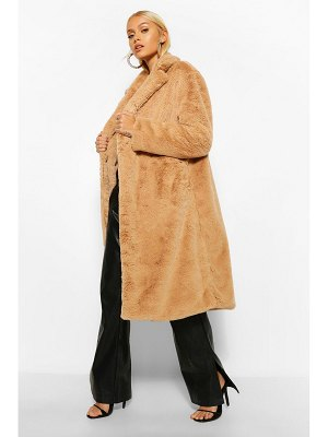 Boohoo Faux Faur Single Breasted Longline Coat