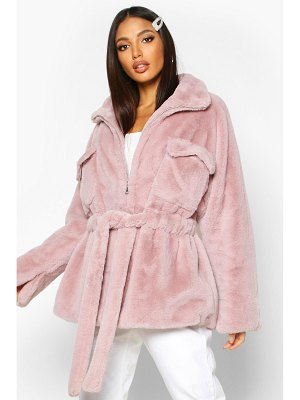 Boohoo Faux Fur Belted Utility Jacket