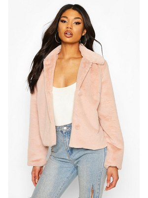 Boohoo Faux Fur Button Coat