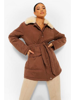 Boohoo Faux Fur Collar Belted Puffer