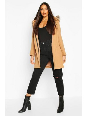Boohoo Faux Fur Trim Hooded Wool Look Coat