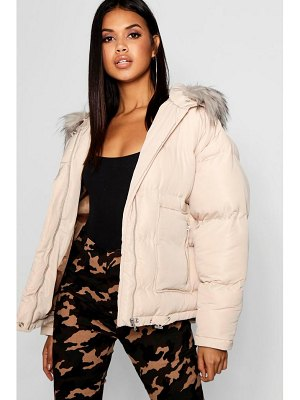 Boohoo Faux Fur Trim Puffer Jacket