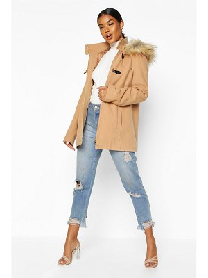 Boohoo Faux Fur Trim Wool Look Duffle Coat