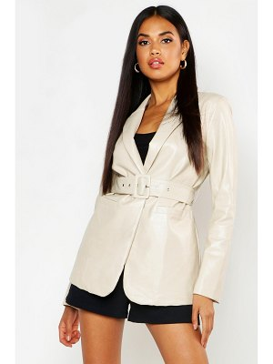 Boohoo Faux Leather Belted Jacket