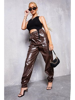 Boohoo Faux Leather Cargo Trouser