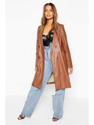 Boohoo Faux Leather Double Breasted Coat