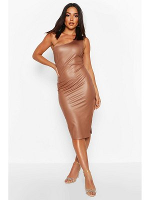 Boohoo Faux Leather One Shoulder Midi Dress
