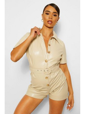 Boohoo Faux Leather Pu Button Through Belted Romper