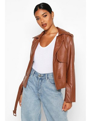 Boohoo Faux Leather Short Trench Coat