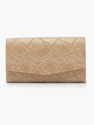 Boohoo Faux Snake Structured Clutch & Chain