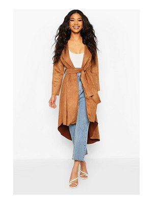 Boohoo Faux Suede Duster Coat With Tie Waist