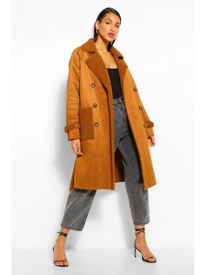 Boohoo Faux Suede Teddy Trim Trench Coat