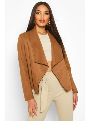 Boohoo Faux Suede Waterfall Jacket