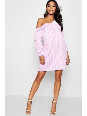 Boohoo Pleat Front Asymmetric Neckline Shirt Dress