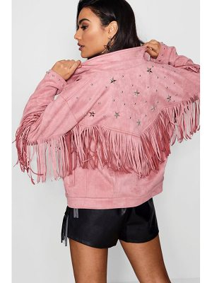 Boohoo Fringe Suedette Jacket With Star Studs