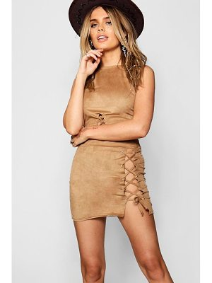 Boohoo Faye Suedette Lace Up Mini Skirt