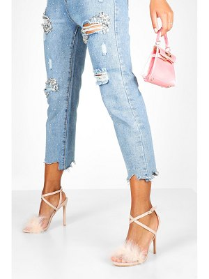 Boohoo Feather Trim 2 Part Stilettos