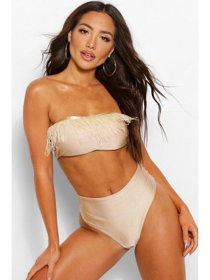 Boohoo Feather Trim Bandeau Bikini