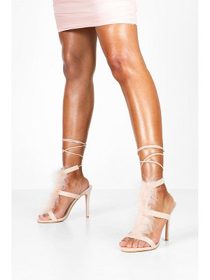 Boohoo Feather Trim Heeled Sandals