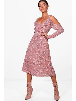 Boohoo Floral Cold Shoulder Midi Dress