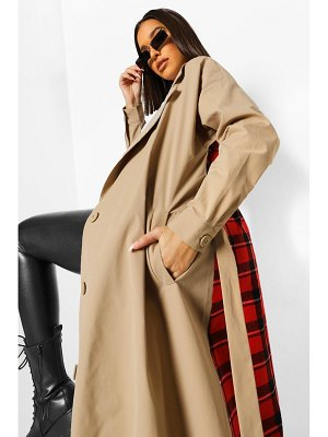 Boohoo Flannel Back Belted Trench Coat