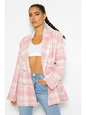 Boohoo Flannel Boucle Double Breasted Boxy Blazer