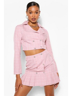 Boohoo Flannel Double Breasted Blazer