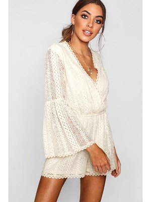Boohoo Flare Sleeve Crochet Playsuit