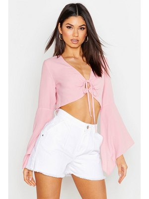 Boohoo Flare Sleeve Cut Out Tie Front Blouse