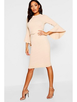 Boohoo Flared Sleeve Belted Midi Dress