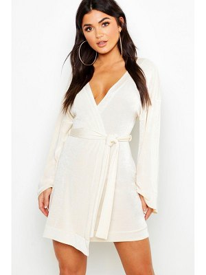 Boohoo Flared Sleeve Belted Slinky Dress