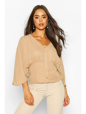 Boohoo Flared Sleeve Button Through Woven Blouse