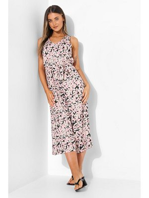 Boohoo Floral Belted Cullotte Jumpsuit