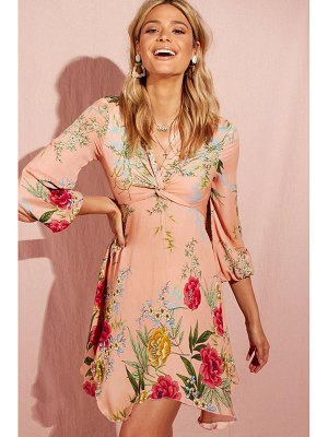 Boohoo Floral Blouson Sleeve Asymmetric Skater Dress