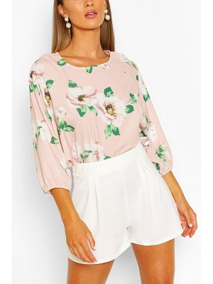 Boohoo Floral Print Batwing Sleeve Blouse