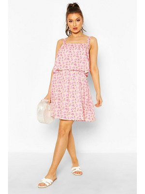 Boohoo Floral Print Double Frill Skater Dress