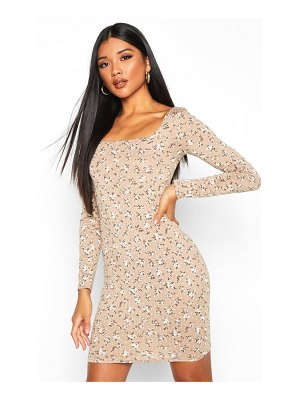 Boohoo Floral Print Long Sleeve Bodycon Dress