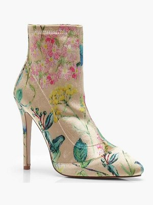 Boohoo Floral Print Stretch Pointed Toe Sock Boots