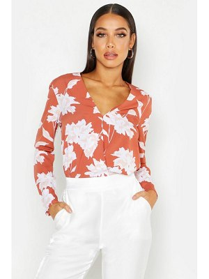 Boohoo Floral Printed Wrap Front Blouse