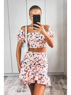 Boohoo Floral Puff Sleeve Top & Wrap Frill Skirt Two-Piece