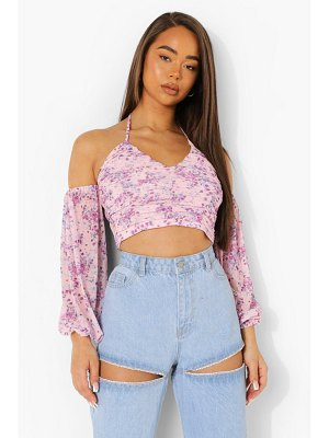 Boohoo Floral Rouche Detail Top