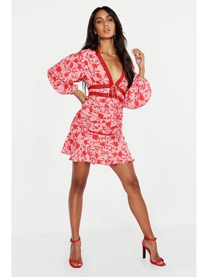 Boohoo Floral Ruched Detail Lace Trim Mini Dress